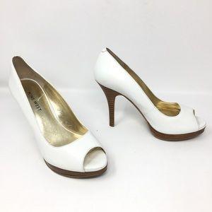Nine West Zuki Genuine Leather Peep-Toe Pump Heels